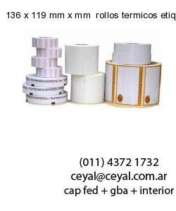 136 x 119 mm x mm  rollos termicos etiquetas