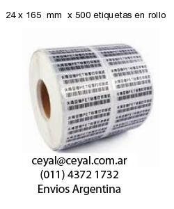 24 x 165  mm  x 500 etiquetas en rollo