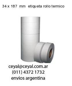 34 x 187  mm  etiqueta rollo termico