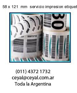 58 x 121  mm  servicio impresion etiquetas correlativas