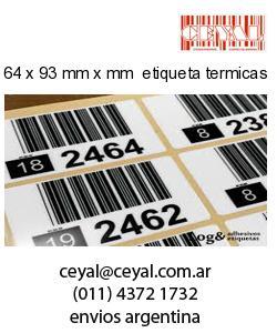 64 x 93 mm x mm  etiqueta termicas