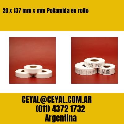 20 x 137 mm x mm Poliamida en rollo