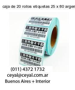 caja de 20 rollos etiquetas 25 x 80 argentina