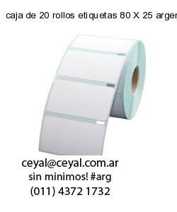 caja de 20 rollos etiquetas 80 X 25 argentina