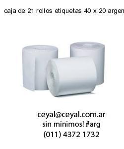 caja de 21 rollos etiquetas 40 x 20 argentina
