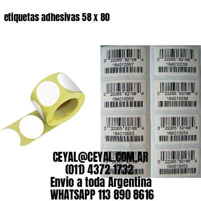 etiquetas adhesivas 58 x 80
