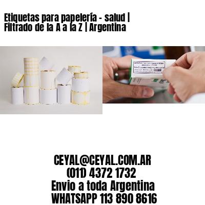 Etiquetas para papelería - salud | Filtrado de la A a la Z | Argentina